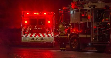 Image of a firetruck and an ambulance